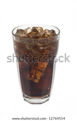 Cold glass of dark cola or soda with ice against white. - stock photo