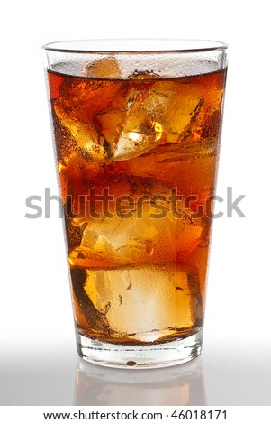 Cold glass of iced tea with ice cubes, isolated on white background with clipping path - stock photo
