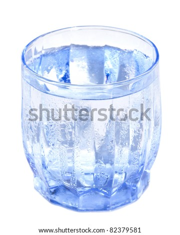 Cold glass of water isolated on white background - stock photo