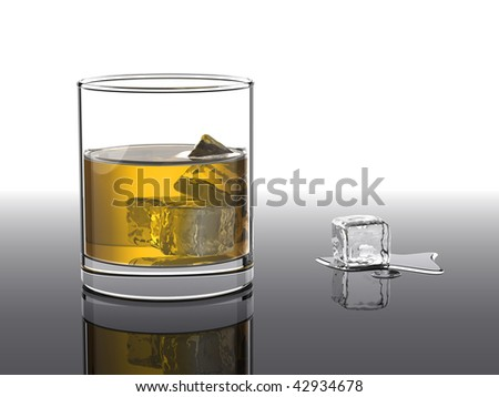 Cold glass of whiskey with ice cubes