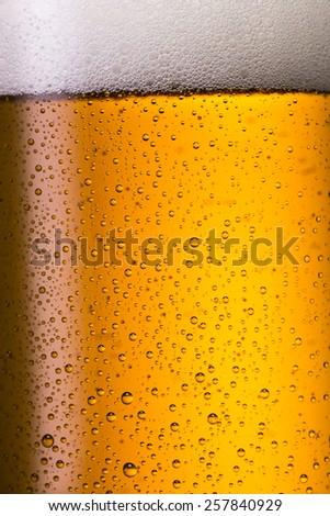 Cold golden beer with drops of condensation