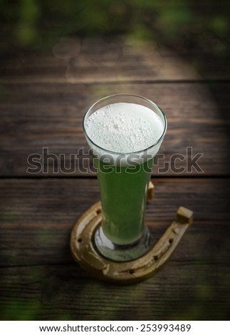 Cold green beer for St. Patrick's day - stock photo