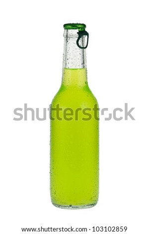 Cold, green beverage in closed, clear glass bottle. - stock photo