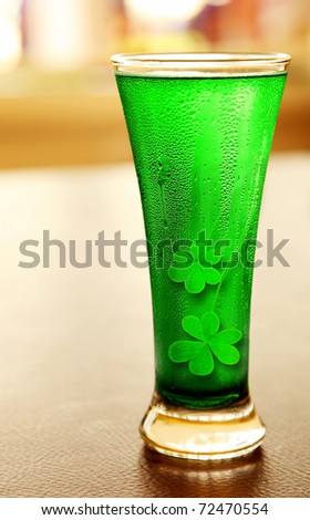Cold green clover beer for st.Patrick's day holiday celebration, lucky concept - stock photo