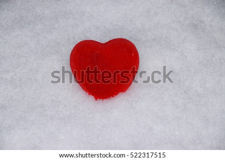 Cold heart. Love snow background
