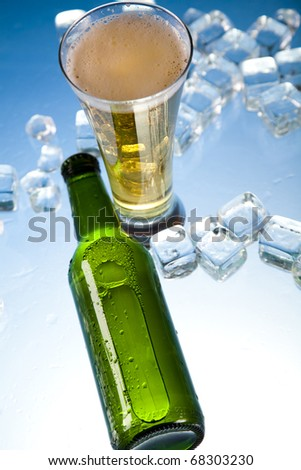 Cold, ice beer bottle - stock photo