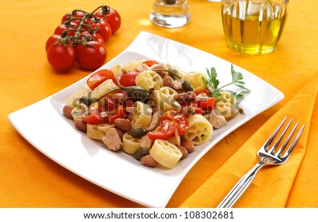 Cold Italian pasta, wheels with tuna and vegetables