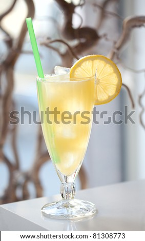cold lemonade on the table - stock photo