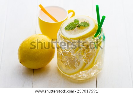 Cold lemonade with ice and mint placed on wooden floors white