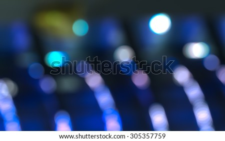 COLD LIGHT BACKGROUND, BLUE BOKEH LIGHTS - stock photo