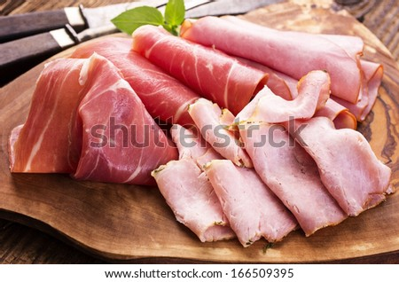 cold meat plate - stock photo