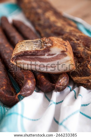 Cold meat products  - stock photo