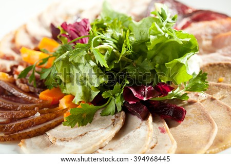 Cold Meats - Chicken Roll, Cold Boiled Pork and Beef Tongue - stock photo