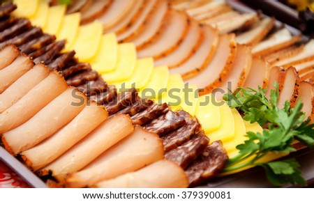 Cold meats with cheese - stock photo