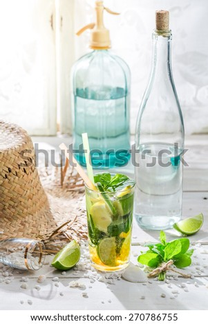 Cold mojito with lemon and lime