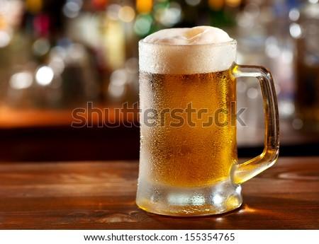 cold mug of beer  - stock photo