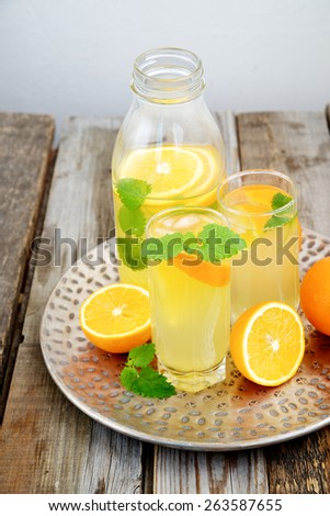 Cold orange soda in a glass on a wooden background - stock photo