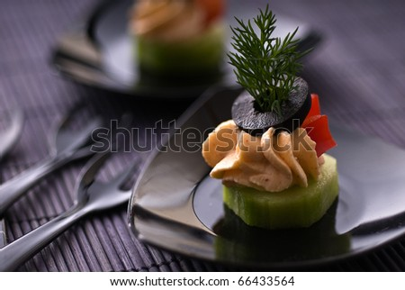 Cold party appetizer with cheese - stock photo