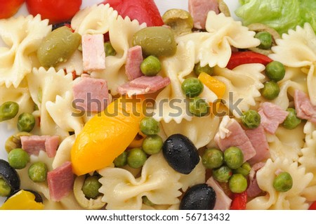 Cold pasta with vegetable - stock photo