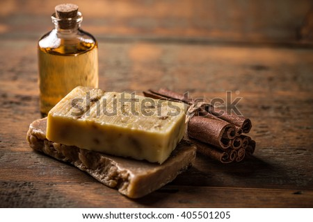 Cold processed handcrafted soap with cinnamon and essential oil
