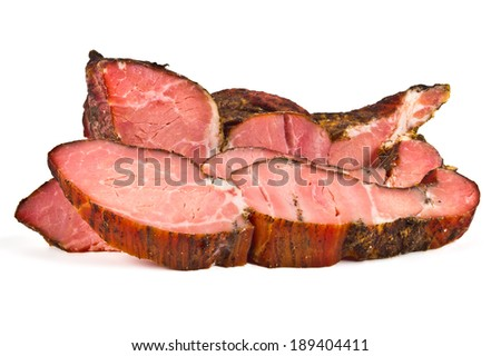 cold smoked meat pieces on white background - stock photo