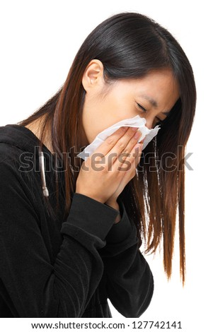 cold sneezing asian woman - stock photo