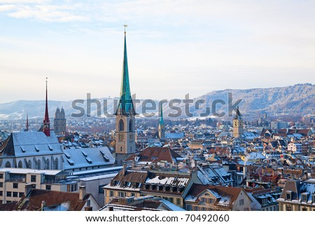 Cold snowy morning in Zurich, Switzerland - stock photo
