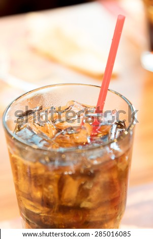 Cold soda iced drink in a glasses - Selective focus, shallow DOF - stock photo
