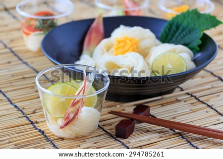 Cold somen, Japanese thin wheat noodles - stock photo