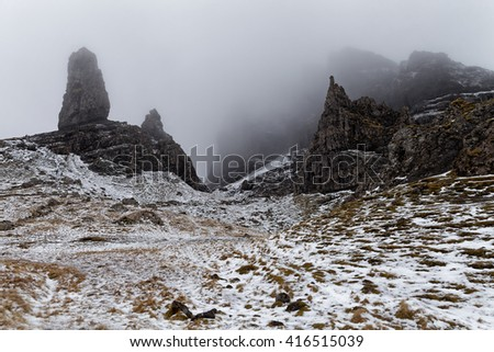 Cold spring day over Old Man of Storr, Scotland