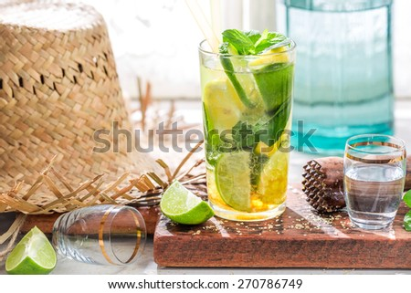 Cold summer drink in glass