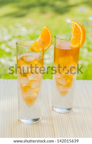 cold summer drinks in garden