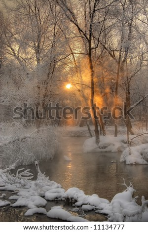 cold sunrise, Moscow - stock photo
