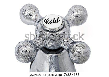 Cold tap; close-up image of cold tap or faucet, covered with condensation - stock photo