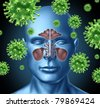 Cold virus infection medical symbol represented by a group of red bacterial intruder cells causing sickness and disease to the human body including the sinus nasal cavity. - stock photo