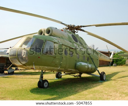 Cold war era Soviet helicopter Mi-8 - stock photo