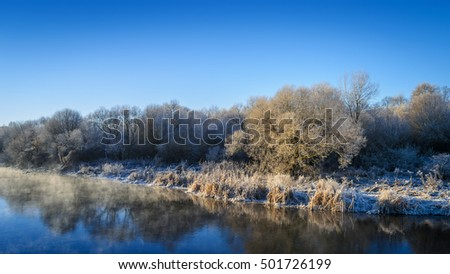 cold water in the river, river bank in winter