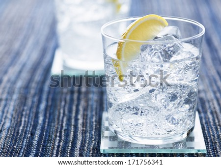 Cold Water with Lemon - stock photo