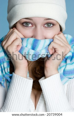 Cold Winter Woman - stock photo