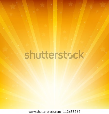 Colden Background With Sunburst And Stars - stock photo