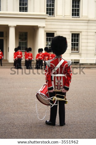 Coldstream Guards waiting to rehearse at the Trooping of the Colour Horse Guards Parade Whitehall London UK - stock photo