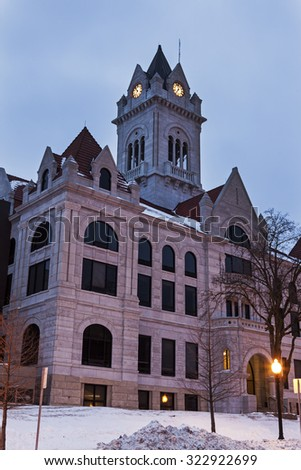 Cole County Courthouse in Jefferson City, Missouri at sunrise. - stock photo