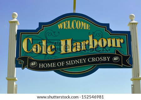 COLE HARBOUR, CANADA - JUN 30:  This sign may have to be updated as another hometown player, Nathan MacKinnon, was  drafted first overall by Colorado Avalanche June 30, 2013 in Cole Harbour, NS. - stock photo
