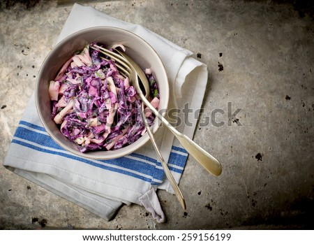 Cole Slow, salad from cabbage. American cuisine.selective focus. - stock photo