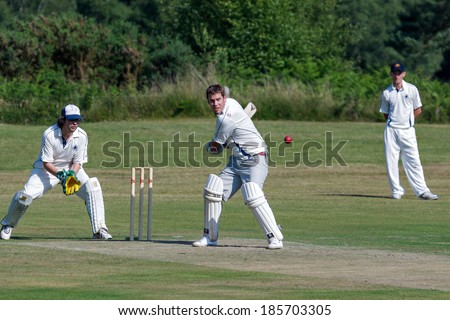 COLEMAN'S HATCH, SUSSEX/UK - JUNE 27 : Village cricket being played at Coleman's Hatch Sussex on June 27, 2009. Unidentified men.
