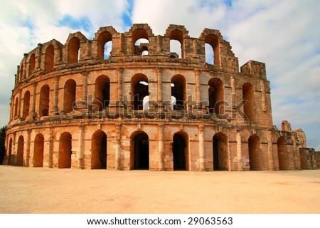Coliseum in El Djem Tunisia Africa - stock photo