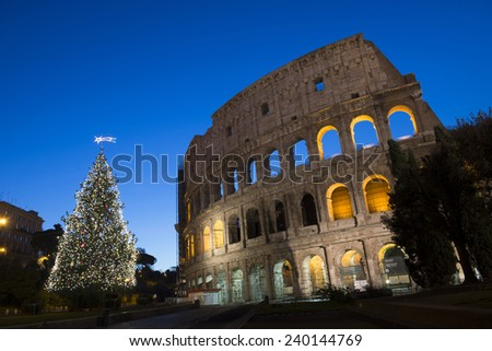 Coliseum in Rome  at Christmas  , Italy - stock photo