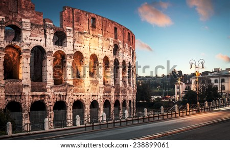 Coliseum in Rome at sunrise - stock photo