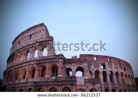Coliseum (or Colosseum) in Rome, Italy at dusk