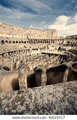 Coliseum view from the inside of the ancient ruins. - stock photo